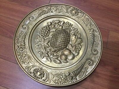 "Lot of 4 Vintage Peerage Embossed Brass Wall Plate ,14"" ,Made in England 4"