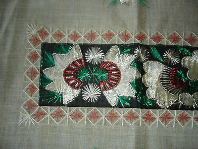 #071  Beautiful Vintage Hand-Embroidered Table Runner 39''/15''(100cm/39cm) 5