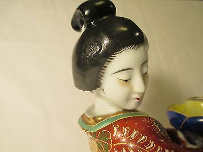 Japanese antique geshia girl kutani figurine art vtg fu dog statue imari pottery 11