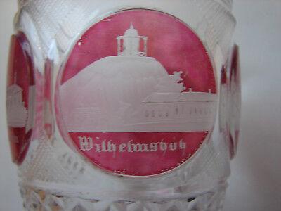 "antikes Badeglas Ranftbecher, ""Teplitz"", rosa gebeizt, orig Biedermeier (117) 4"