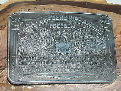 VINTAGE limited ed 1983 NRA leadership award buckle nat rifle assoc freedom 2