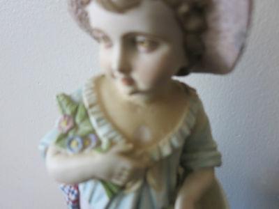 "Antique German  Hand Painted Bisque Rudolstadt Rustic Romantic Figurine 13"" Tall 6"