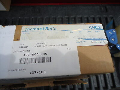 New Thomas & Betts Flat Ribbon Cable P/N 137-100 30 Awg 100 Conductor Blue 3