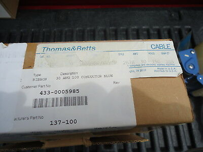 New Thomas & Betts Flat Ribbon Cable P/n 137-100 30 Awg 100 Conductor Blue