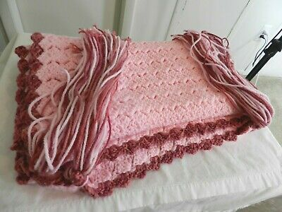 """Hand Knitted Acrylic Afghan Baby Throw Blanket Fringe Pink 16.5"""" x 87"""" 7"""