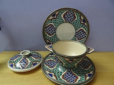 Antique Iznik ? Turkish ? Ottoman ? Pottery Plate Bowl + cover dish silver rim 3