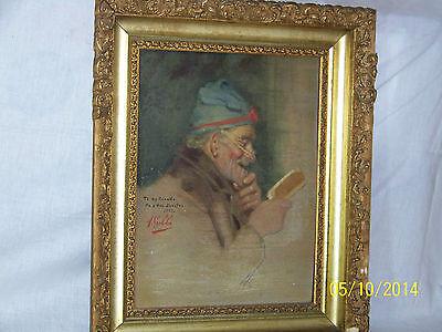 """Rare"" Alpenore Gobbi Antique Original Oil On Panel Side Portrait Painting 3"