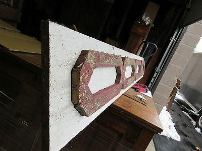 "VICTORIAN GINGERBREAD pediment w/APPLIED fretwork detail RED & WHITE 85 x 10.5"" 9"