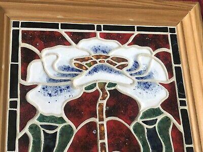 Beautiful Framed Contemporary Tile Art Nouveau Taste Sinuous Flora & Leaves 3