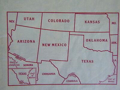 Road Map Of Arizona And New Mexico.1952 Arizona New Mexico Texas Road Map Shell Oil Gas Southwestern