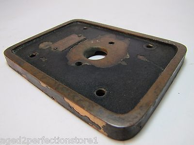 Old EMERGENCY RELEASE No 4 Mount Plate architectural button switch bronze brass 9