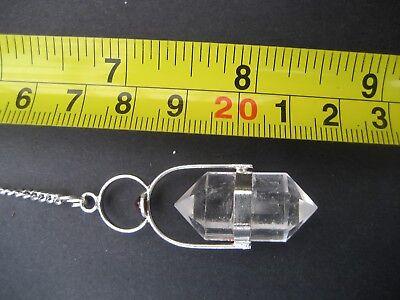 Herkimer Clear Quartz + Garnet Cab Crystal Gemstone w/ Chain Precision Pendulum 3