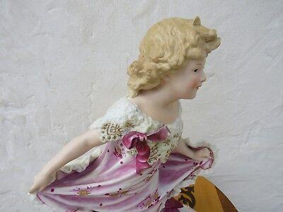 "Gebruder Heubach Hand Painted Dancing Girl Bisque Piano 15.5"" Figurine (c.1900) 4"