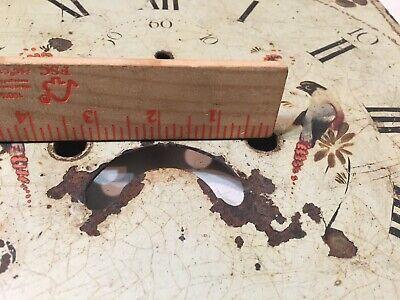 Antique Tall Case Clock Face Dial Folk Art Decorated Birds Blue Jays Flowers 11