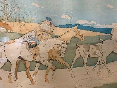 Francés Antiguo Art Nouveau Enmarcado Firmado Hombre Caballo a Caza / Play Polo 4