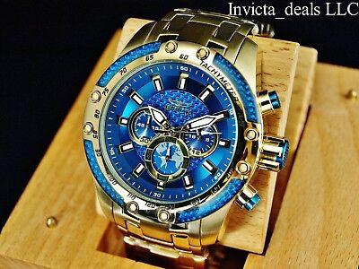 Invicta Men's 50mm SPEEDWAY SCUBA Chronograph Sapphire Blue Gold Tone SS Watch 11