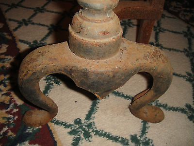Antique Cast Iron Andirons-Sphere Ball Top-Chicken Leg-USA Made-Fireplace Insert 9