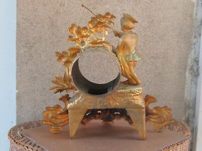 ANTIQUE FRENCH GILDED SPELTER FIGURAL MANTEL CLOCK CASE ONLY-19th c. 4
