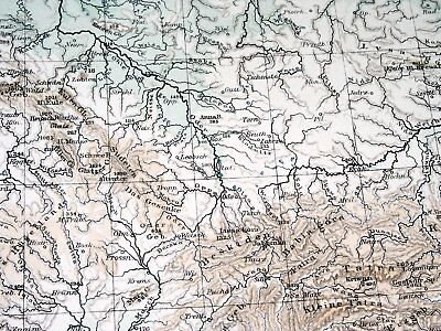 1896 Antique Original Physical Map Of Germany Poland Rivers Mountains 3