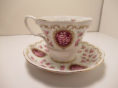 "Royal Albert English China Cup&Saucer ""Cameo Series Keepsake"" White & Pink 3"