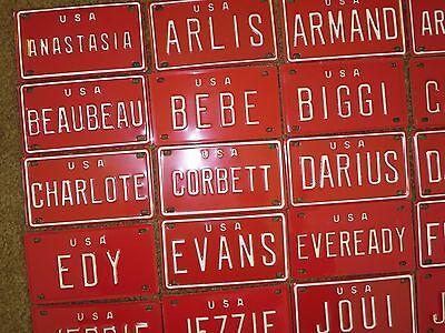 Vintage Personalized U S A Red Mini Bike Bicycle Vanity Metal License Plate Sign