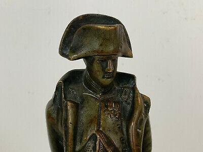 Antiguo 19th Siglo Bronce Napoleon Figura Estatua sobre Rojo Mármol Base 6