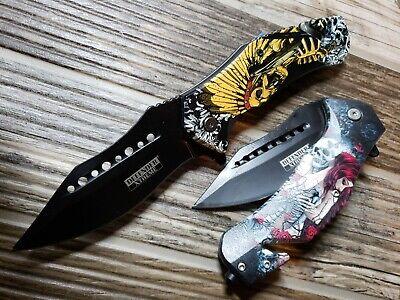 Tactical Print Handle Spring Pocket Knife Folding Tactical Open Serrate Blade 5