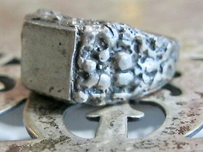 Arts And & Crafts Sterling Silver Signet Initial Monogram Blank Mens Mans Ring 4