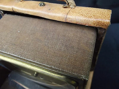 Art Deco Leather Travel Cased Brass Alarm Clock Duverdrey Bayard 7