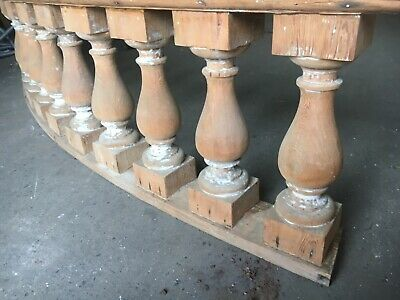 "c1890 curved porch balustrade 10' x 25"" x 8.5"" HUGE BEEFY spindle 19.5"" x 5.5"" 11"