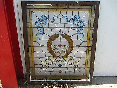 ANTIQUE AMERICAN STAINED GLASS LANDING WINDOW 35.75x42.25 ARCHITECTURAL SALVAGE 10