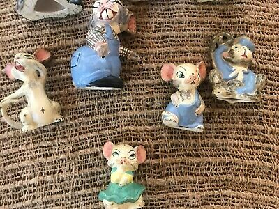 Antique 1919 8 Bisque Nodder Clay Mice Family German? Hand painted & signed RARE 9
