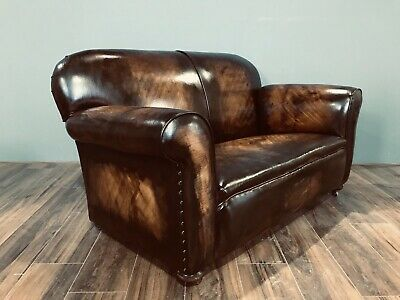 Restored Original 1920's Art Deco Club Sofas In Hand Dyed Leather 5
