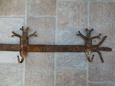 ANTIQUE 19th CENTURY Hand forged Wrough Iron Hook Hanger Old Fireplace Vintage 3