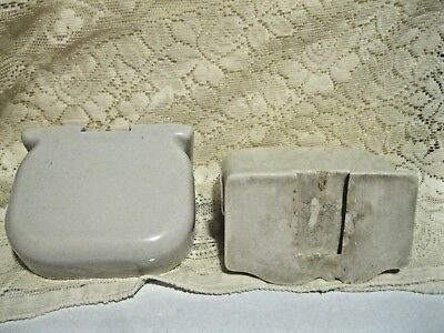 Vintage White Porcelain Bathroom Wall Mount Matching Soap Dishes 6