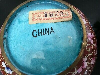 COPPER LIDDED ROUND BOX--CLOISONNE-CHINA 1970-------------------------------jor 4