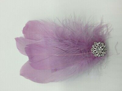 Asst Colour Silver Gem Feather Fascinator Diamante Hair Clip Vintage Style 7