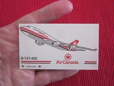 2 Sur 3 Ancienne Carte De Visite Air Canada B 747 400 Avion Aviation Boeing
