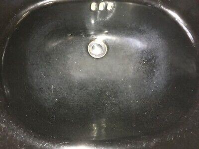 """Antique 24"""" Deco Cast Iron Black Porcelain Bath Pedestal Sink Old Vtg  235-19E 5"""