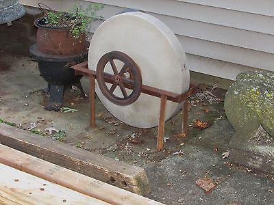 Antique Grinding Stone Wheel Industrial Iron Steampunk Garden Sculpture 8