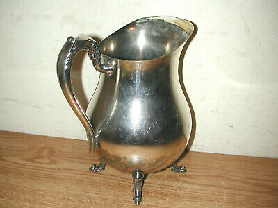 Vintage F.b. Rogers Silver Plated Footed Water Pitcher With Ice Guard 8