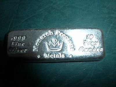 10 Troy Oz. Monarch Precious Metals Bar .999+ Fine Silver Hand Poured 6