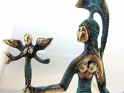 Ancient Greek Bronze Museum Statue Replica Of Athena Wth A Spear And Winged Nike 4