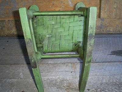 Antique Ladder Back Child's Toy Woven Splint Seat Wood Rocking Chair Old Paint 6