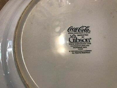 """Gibson Dinnerware Coca Cola Cafe Diner Pat. Large  Dinner Plate 11 1/2"""" Red Trim 6"""