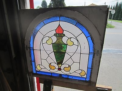 ~ Beautiful Antique American Stained Glass Window Arched Architectural Salvage ~ 2
