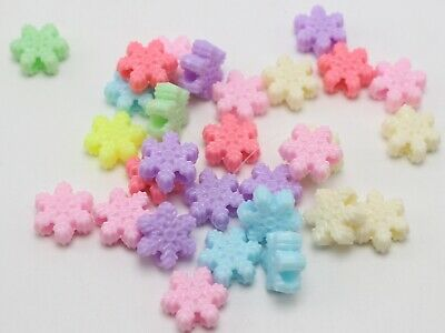100 Mixed Pastel Color Acrylic Snowflake Pony Beads 16mm for Kids Craft Kandi 4