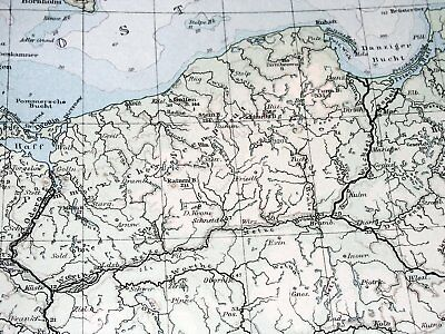 1896 Antique Original Physical Map Of Germany Poland Rivers Mountains 2