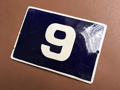 ANTIQUE VINTAGE EUROPEAN ENAMEL SIGN HOUSE NUMBER 9 DOOR GATE SIGN 1950's
