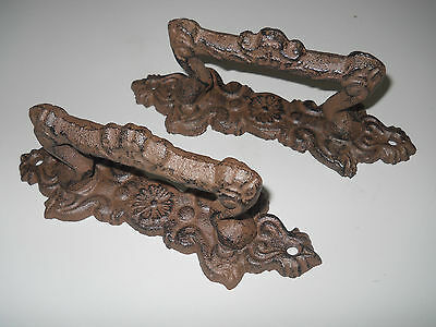 2 Large Cast Iron Antique Style FANCY Barn Handle Gate Pull Shed Door Handles #4 2